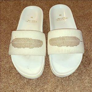 Buschemi white and gold slides size 36/6 Sandals